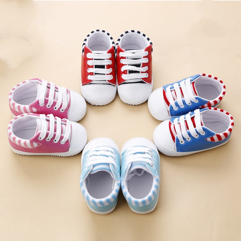 2018 Baby Shoes Spring Cute Toddler Baby PU Striped Sneakers Boys Girls Soft Sole Non-slip Crib Shoes 0-18M france tigergrip waterproof work safety shoes woman and man soft sole rubber kitchen sea food shop non slip chef shoes cover