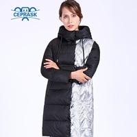 CEPRASK 2018 New Metallc Thick Parka Plus Size Long Bio fluff Hooded Women Winter coat European style Warm Stylish Winter Jacket