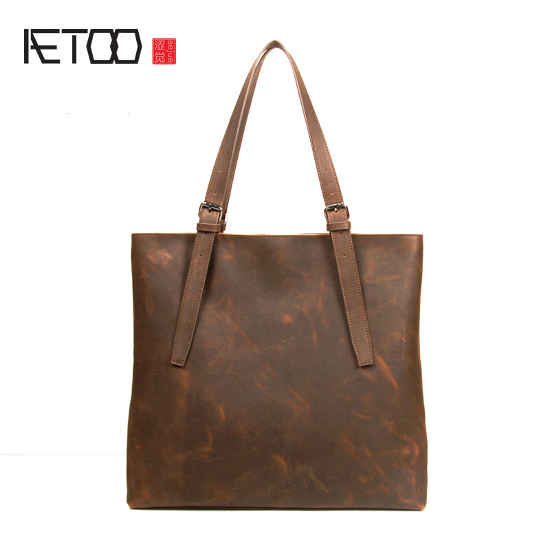 AETOO New original retro men 's bag leather bag men' s leisure section of leisure shoulder bag leather handbag men s leather oblique cross chest packs of the first layer of leather deer pattern men s shoulder bag korean fashion men s bag