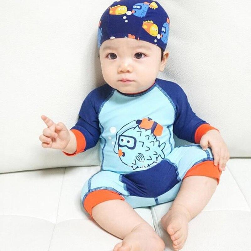 2-6yrs Baby Jungen Badeanzug Mädchen Kinder Badeanzug Cartoon Design Badeanzug Kleinkind Bademode 2 Stücke Hut + Anzüge Infant Ruf Zuerst