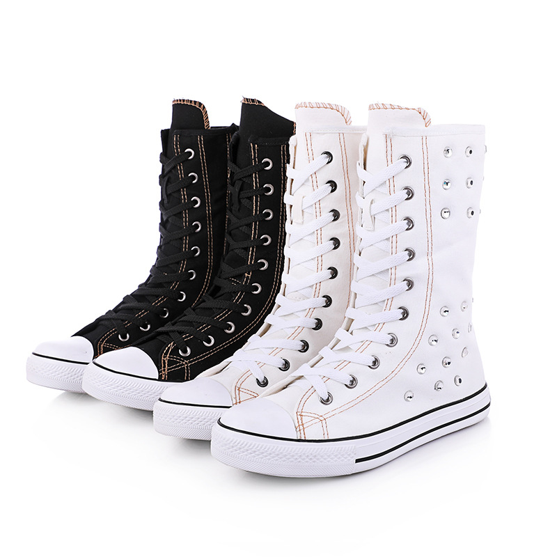 Women Crystal Boots 2019 New Spring and Summer Short Canister Front Tie Side Zipper Canvas Mid Calf Shoe Casual Flat with Shoes