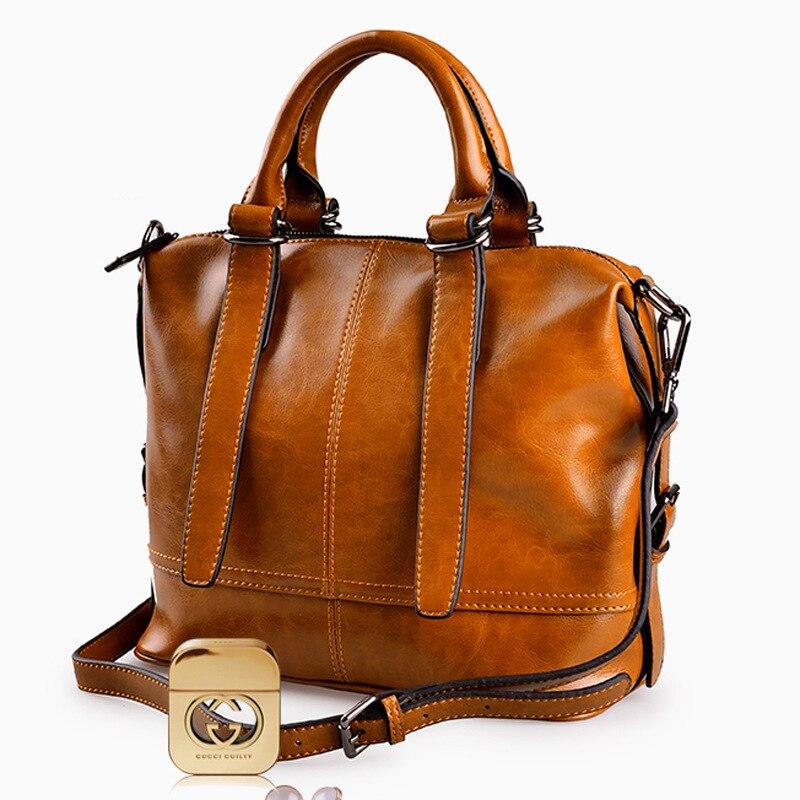 New fashion European & American style ladies shoulder bag leather handbags cowhide bag diagonal package large capacity