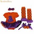 Хэллоуин костюмы, Дети комбинезон девочек тыква туту платье + повязка на голову + носки + обувь установить, Новорожденного подарки, Bebe menino малышей одежда