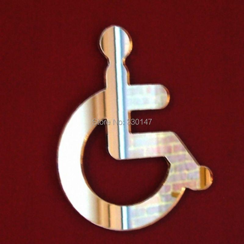 Акрил колясочники Туалет зеркальные двери Стикеры/стены знак