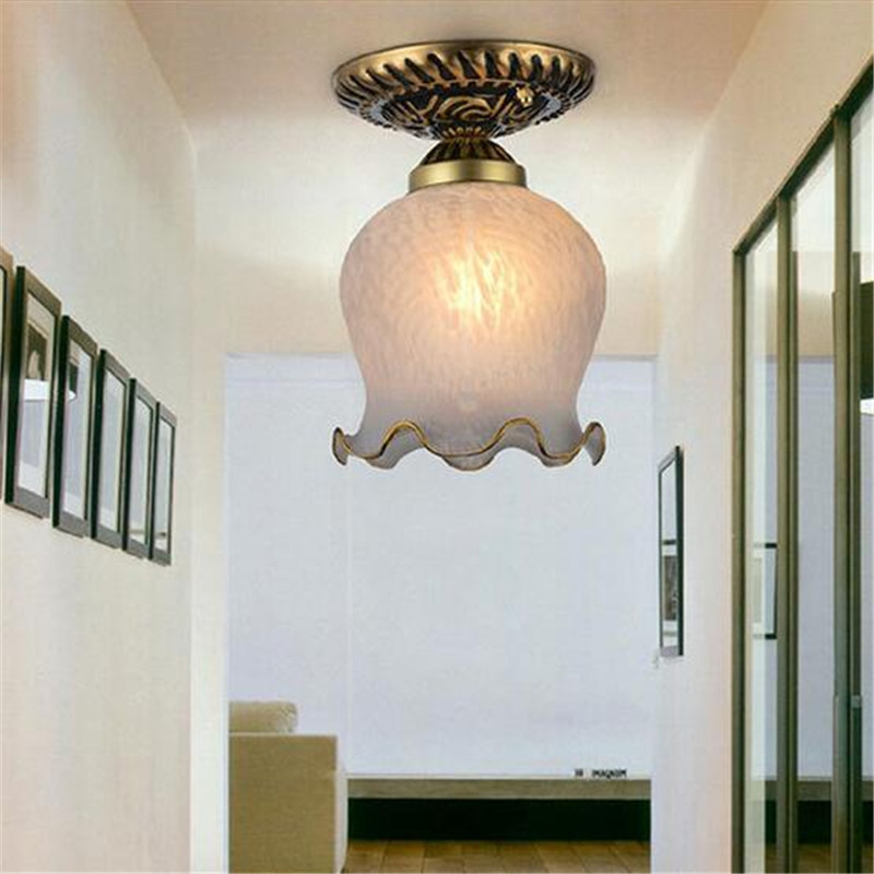 On Sale Europe Brief Glass Aluminum Led E27 Ceiling Light For Aisle Living Room Balcony AC