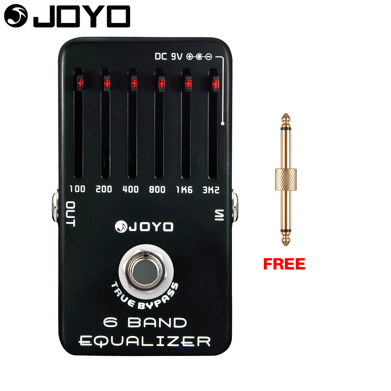 JOYO 6 Band Equalizer Electric Guitar Effect Pedal LED Power Indicator True Bypass JF-11 with Free Connector aroma adr 3 dumbler amp simulator guitar effect pedal mini single pedals with true bypass aluminium alloy guitar accessories