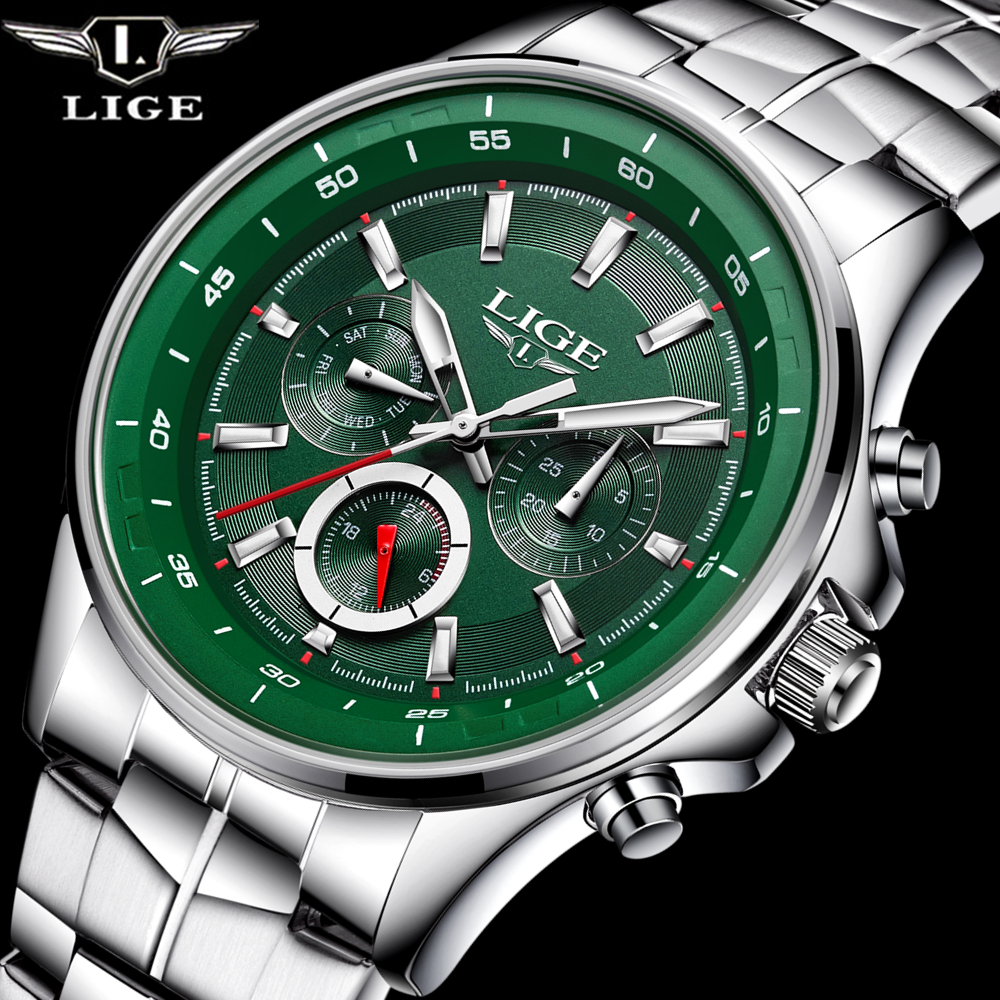 LIGE Watch Men Business Waterproof Clock Mens Watches Top Brand Luxury Fashion Casual Sports Quartz Wristwatch
