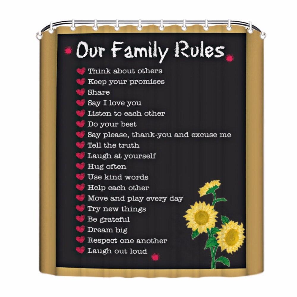 Unsere Familie Regeln Duschvorhang, Liebe Bad Vorhang, Brief Bad ...