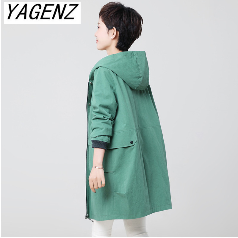 Female windbreaker Coat Spring 2019 Korean Loose Long Overcoat Plus size Middle-aged ladies Solid Casual Hooded   Trench   Coat 4XL