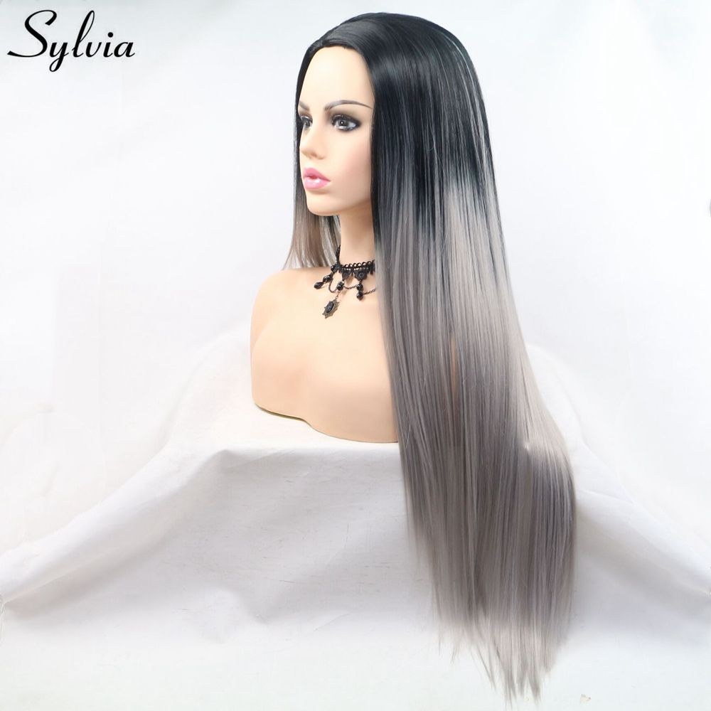 100% Quality Sylvia Long Silky Straight Hair Synthetic Wigs Dark Root Heat Resistant Ombre Grey Machine Made Wigs Natural Cosplay Party Wigs 2019 New Fashion Style Online