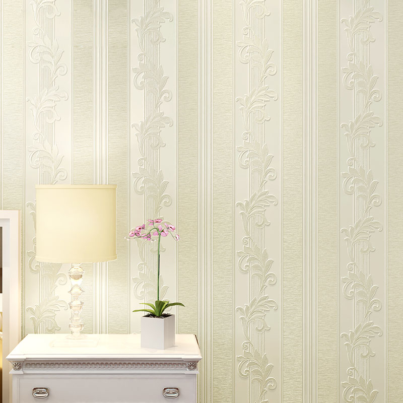 Europea Style 3D Embossed Florals Wallpaper Rolls For Home Decor Stripes Wall Paper Non Woven Living Room Bedroom TV Background