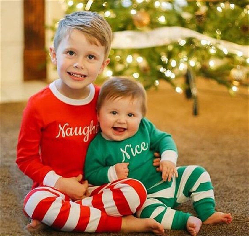 Christmas Baby Boys Girls Striped Nightwear Christmas Pajamas Outfits Set Sleepwear Letter Naughty Xmas 2Pcs Clothes 1-7T шкатулка влюбленность 20 13 9см уп 1 8шт