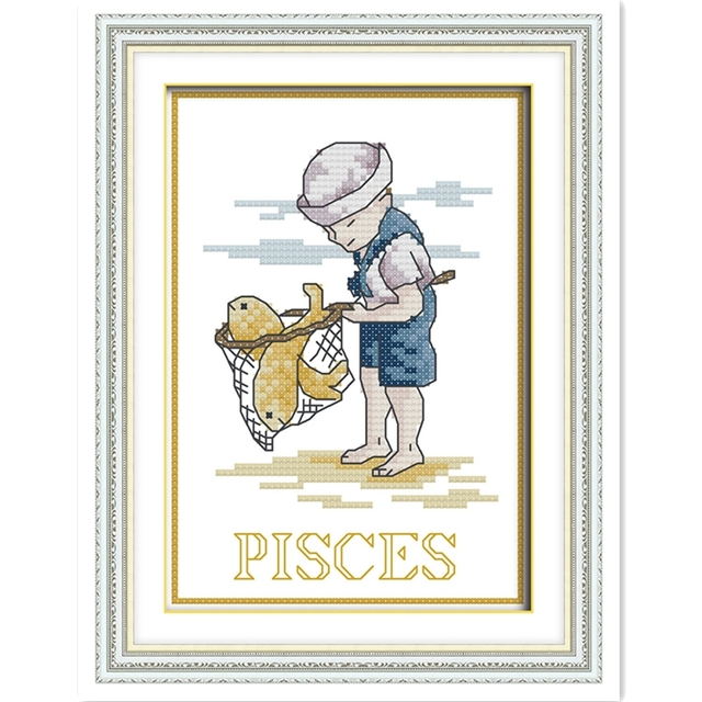 Pisces Chinese Counted Cross Stitch Pattern Cross Stitch Kits DMC Cross  Stitch Fabric Home Decor Needlework
