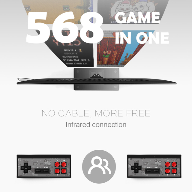 DATA FROG 4K HDMI Video Game Console Built in 568 Classic Games Mini Retro Console Wireless Controller HDMI Output Dual Players 2