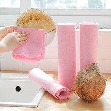 1PC ピンクココナッツシェルタオルクリーニングクロスクイックドライタオル吸収精練パッド洗濯きれいな布抗グリースキッチンツール