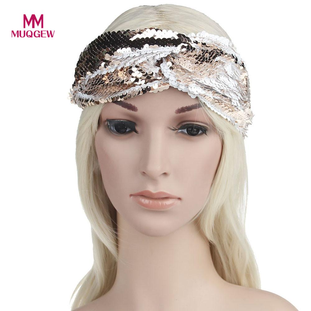 hair accessories for women Double Color Sequins Headbands Elastic Run Head Hair Accessories accesorios para el cabello para muje