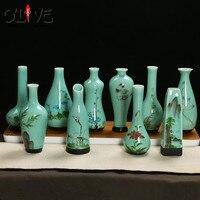 Mini Ceramic Flower Vases Home Decoration Vases Jardiniere Classic Porcelain Chinese Flower Receptacle