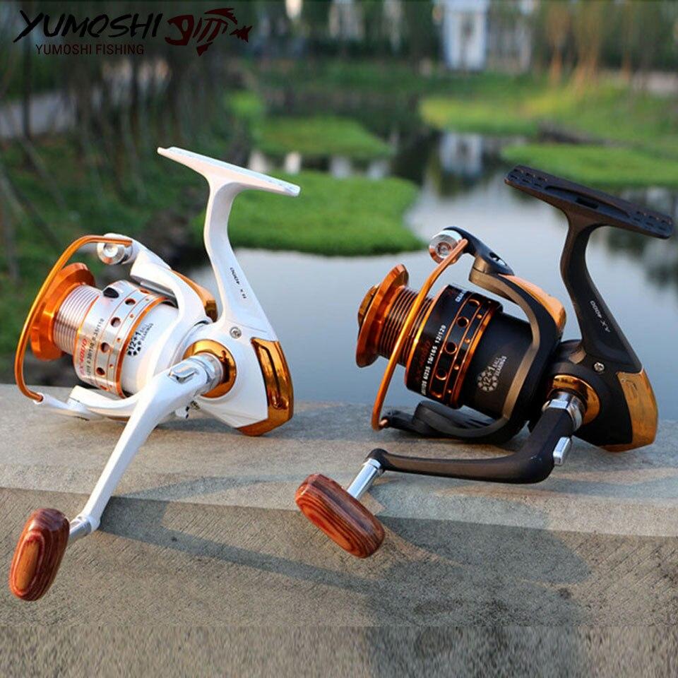Carrete de pesca Spinning 12BB + 1 bolas de rodamiento serie 9000-500 carrete giratorio bote rueda de pesca de roca