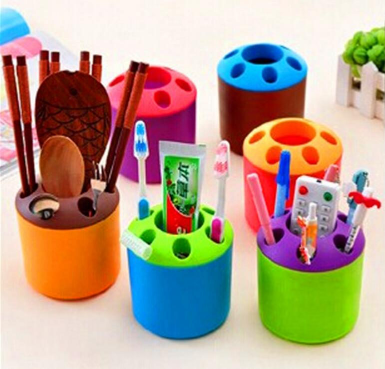 Colorful Plastic Toothbrush Holder Small Bathroom accessories Pens Pencil knife and fork Holder Container Tube Bracket Cups