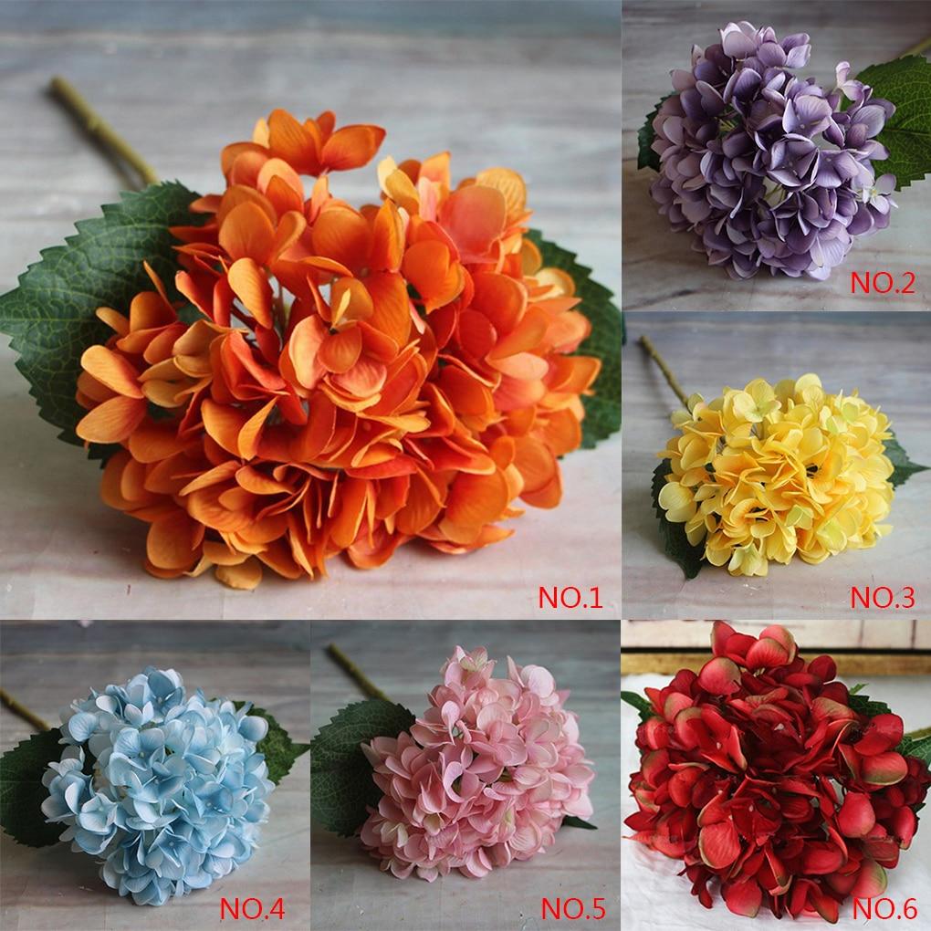 New Colorful Silk Artificial Hydrangea Flower Bouquet Arrangement ...