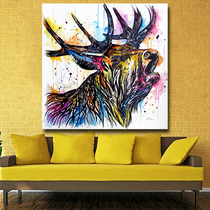 Hotsell Colourful Deer Head Cheap Art Pictures Modern Abstract ...
