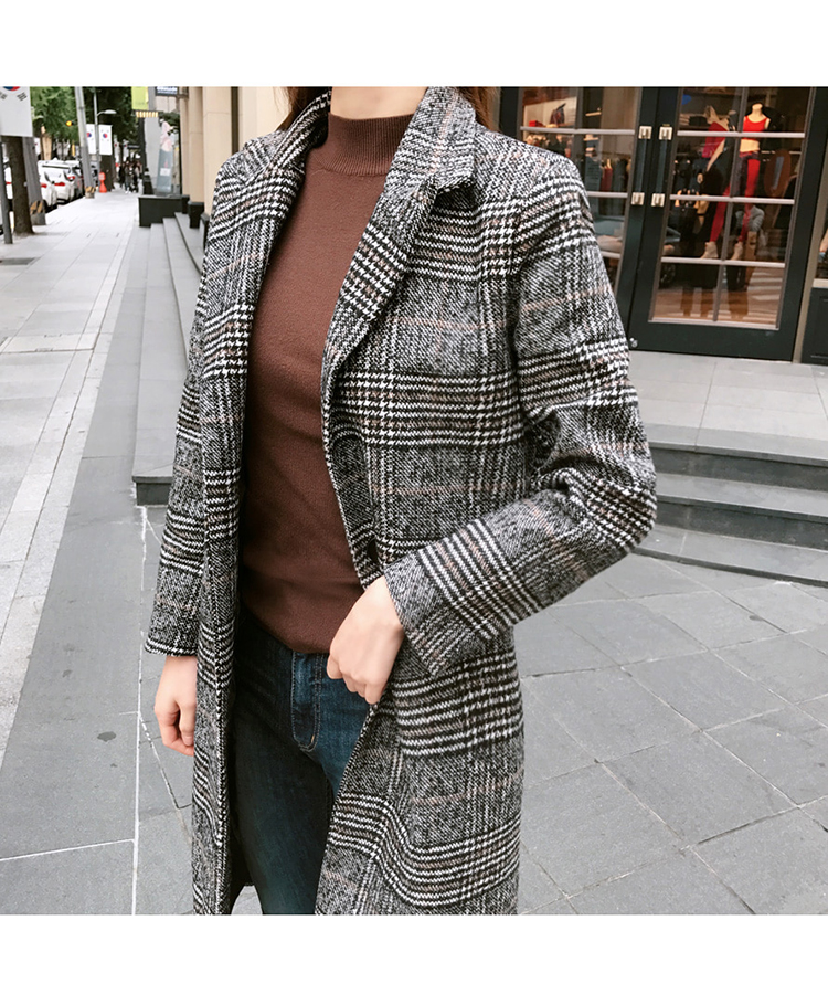 19 Spring Autumn Women's Wool Plaid Coat New Fashion Long Woolen Coat Slim Type Female Winter Wool Jackets Female Outw 10