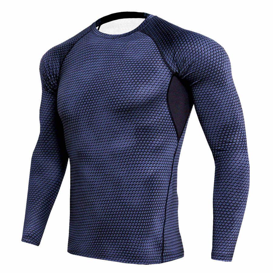 Medias de compresión para correr camisa de manga larga para Hombre Sudaderas de culturismo gimnasio Fitness deporte traje de secado rápido MMA Rashguard ropa