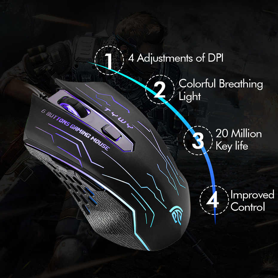 83ea2a6d965 ... 2019 New Mouse EasySMX G820 Optical Gaming Mouse 3200 DPI 6 Buttons  Mice Computer Mouse for ...