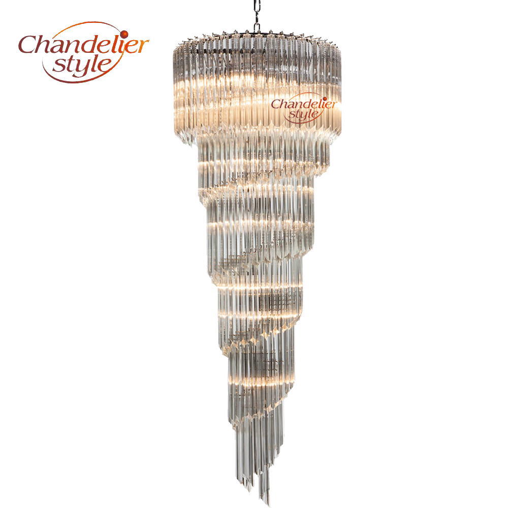Modern Murano Glass Prism Chandelier Lighting Luxury Staircase Chandeliers Hanging Light Fixtures for Living Dining Room Decor