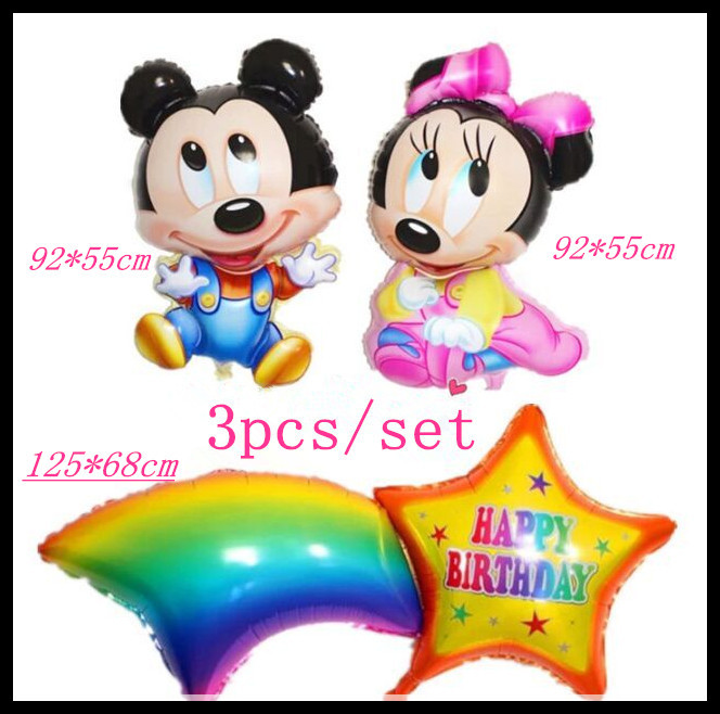 1 Set  92*55 cm mouse cartoon balloon +125*68cm star rainbow balloons birthday b