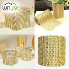 NEW Yard 8 24 Rows Bling Diamond mesh Wrap ribbon silver Rhinestone Mesh Roll Tape Tulle Crystal Ribbon cake wedding decoration(China)