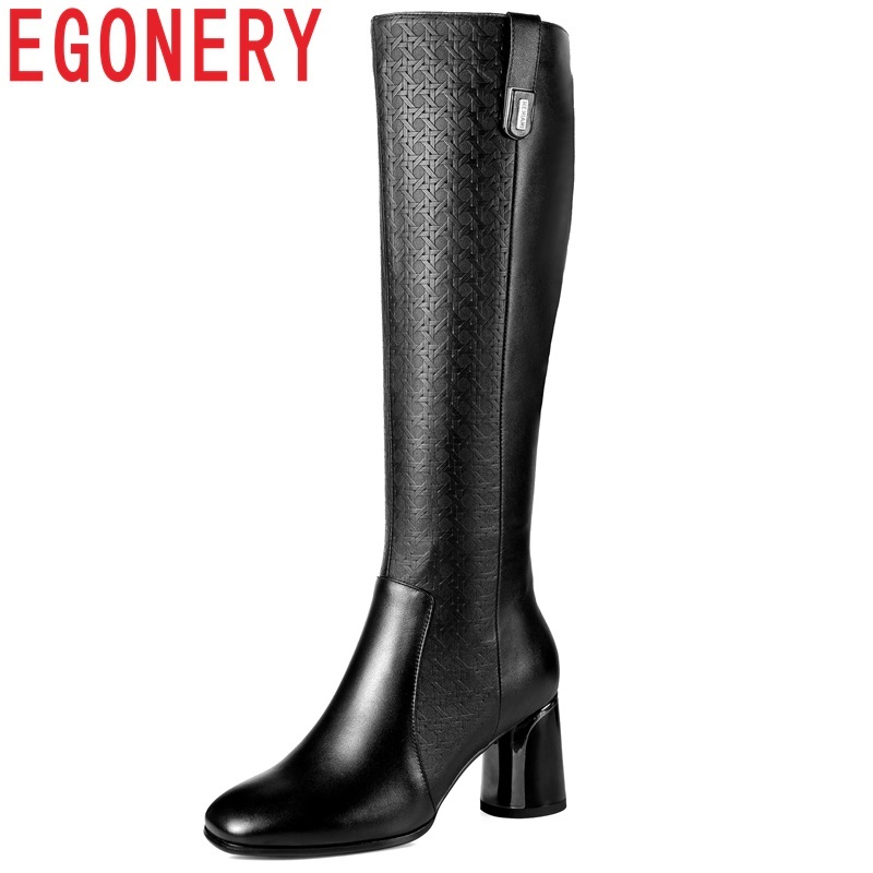 EGONERY 2018 new high quality genuien leather square toe high round heels women shoes zipper black winter warm knee high boots egonery shoes 2017 women knee high boots side zipper black square toe solid color high quality short plush fashion riding boots