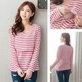 Venta al por mayor Nusring de blusa de maternidad ropa de rayas de manga larga T-shirt para mujeres embarazadas