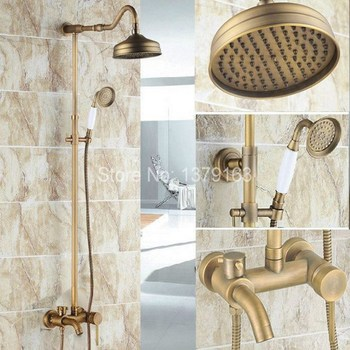 цена на Brass Antique Retro Bathroom Rainfall Bathtub Shower Mixer Tap Faucet Single Handle Wall Mounted ars224