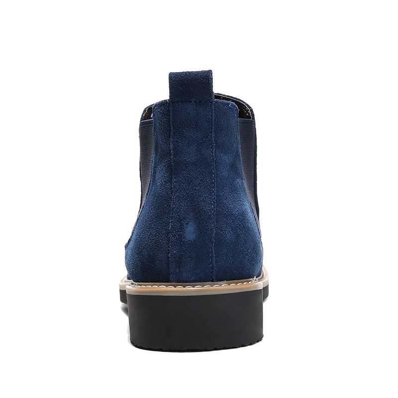 Homens blue Botas Camurça Couro Sapatos Dos Outono Tornozelo Black Britânico Estilo Moda Primavera De gray Chelsea Casuais qHfnwv5Wxv