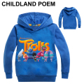 New 2-9Y kids Cartoon Trolls clothes Hooded Long Sleeve Shirts Fashion Girls Clothes Children Kids Sweatshirt spring Boys Girls
