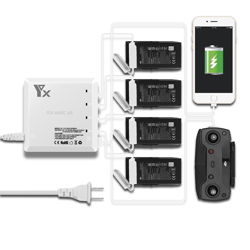 6 in 1 Drone Battery remote control charger Intelligent Charging with USB Port For DJI Mavic