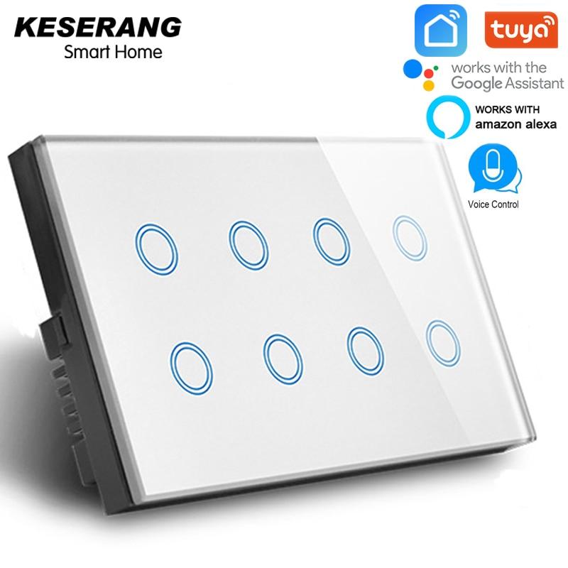 KESERANG 8 gang Tuya vie intelligente APP contrôle WIFI commutateur UK, verre de cristal blanc Smart wifi commutateur 600 W, compatible Alexa Google