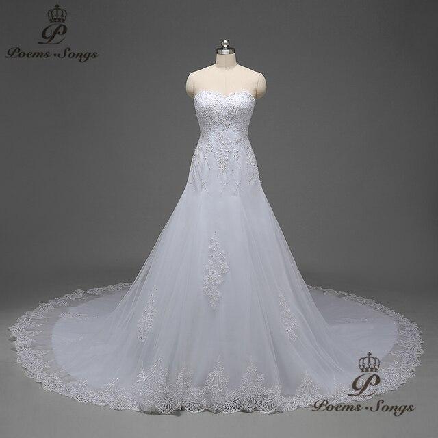 Poemssongs Real Photo Empire Long Tail Silky Organza Mermaid Wedding Dresses For Vestidos De Noiva