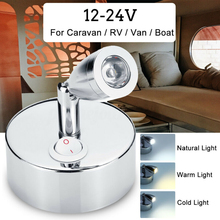 1pc 12-24V 1W Silver Aluminum Reading Light Flexible LED Spot Reading Light RV Caravan Camper Boat Wall Bedside Lamp 70x30mm