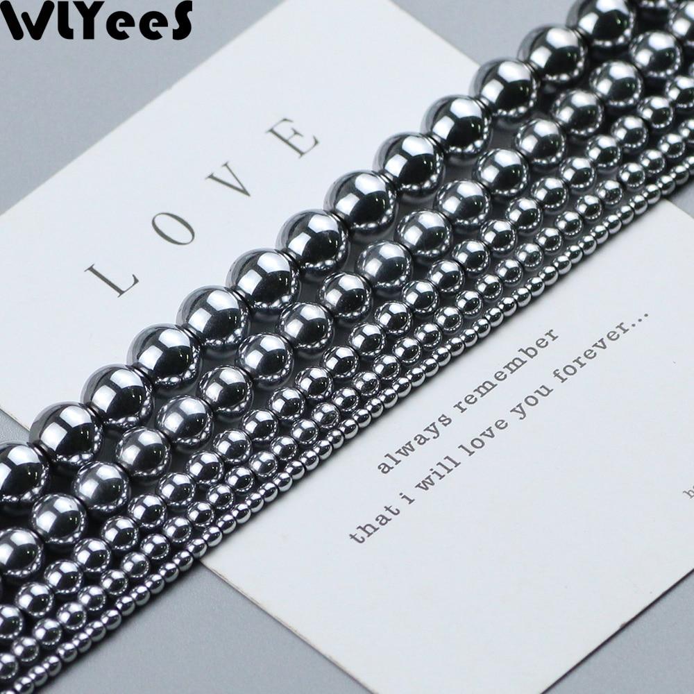 Круглые бусины WLYeeS из гематита, Серебряные широкие бусины с покрытием, шарики 2, 3, 4, 6, 8, 10 мм для изготовления ювелирных изделий, браслетов, ож...