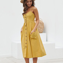 1e1033b661bd MQ Women Cotton Summer Dresses Sexy Straps Bohemian Floral Tunic Beach Dress  Bodycon Sundress Pocket Red