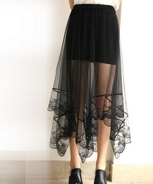 1pcs/lot Korean Style Girl Summer Long Lace Skirt Women Black White Mesh Solid Straight Skirt Female Long Lace Skirt
