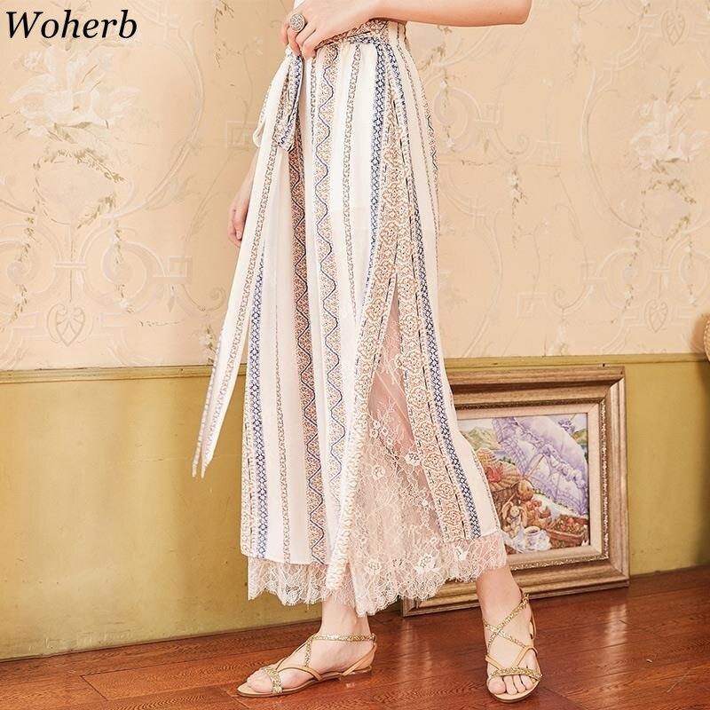 Woherb Female Plus Size Elastic High Waist Chiffon   Wide     Leg     Pants   Women Boho Printed Lace Beach   Pants   2019 Summer Modis Trousers
