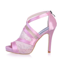 Sweet sandal crossed strap lace and satin heels platform Rome style see through shoes pink black white for quinceanera ceremony