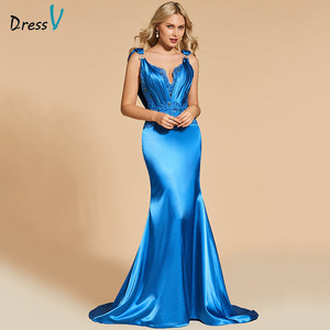 Image 2 - Dressv royal blue evening dress mermaid elegant v neck lace floor length beading wedding party formal dress evening dresses