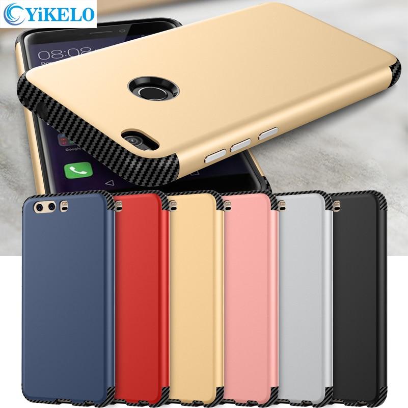 Yikelo противоударный чехол для телефона для Huawei P8 <font><b>Lite</b></font> <font><b>2017</b></font> Nova <font><b>Lite</b></font> <font><b>P9</b></font> P10 плюс ПК ТПУ силикона углерода Волокно сзади крышка