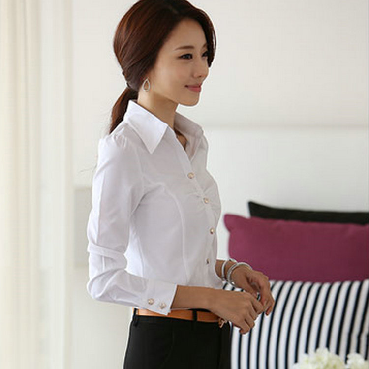 Korean Autumn White Shirt Female Long Sleeve Wear Women S Interview Dress Slim Commuters Cool In Blouses Shirts From Clothing