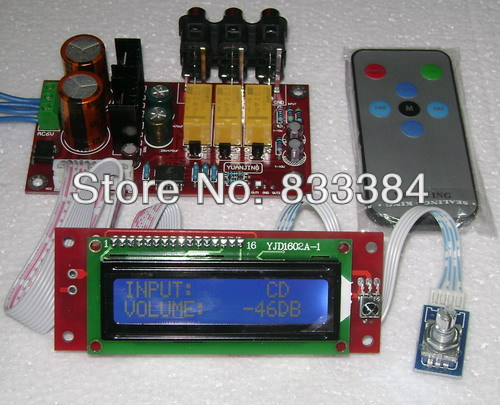 PGA2311 Volume Stereo Pre-amplifier Preamp Board with LCD and Remote control интегральная микросхема hifi remote volume control preamp