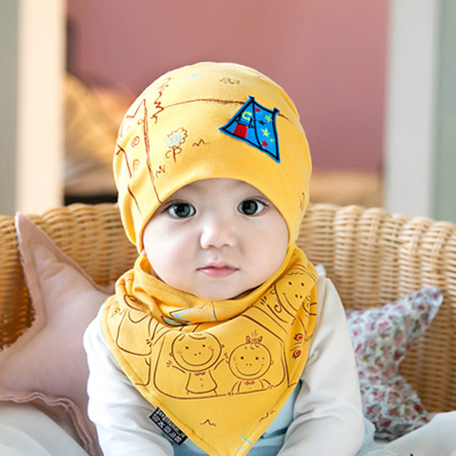 1-3 years boys girls spring baby hats 4 colors infant caps kids knitted cap  Travel cap + deltoidal scarf two sets H-004 70a86a9ee0a